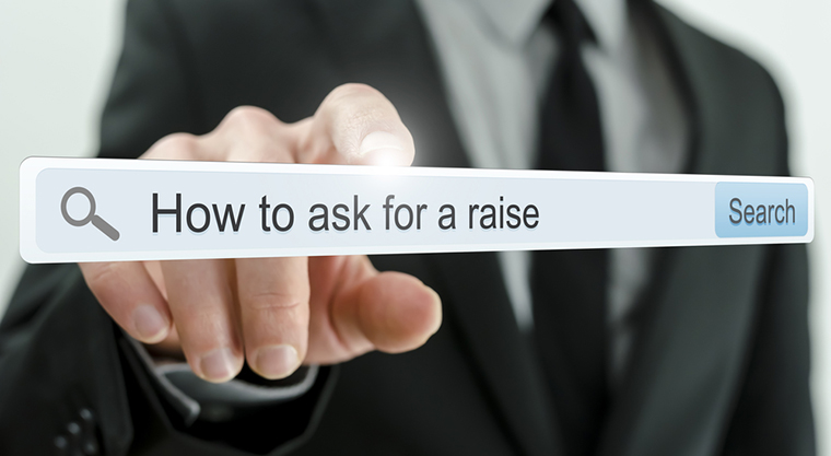 How to ask for a raise written in search bar on virtual screen.